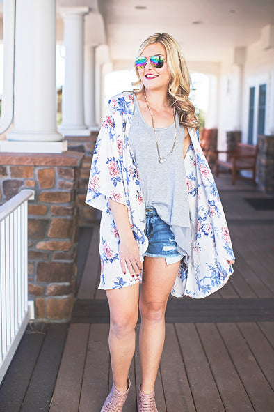 Ivory and floral kimono