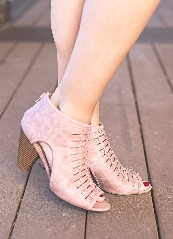 Stunning becca cut out booties (blush)