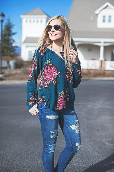 Teal and floral Amanda top