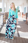 Mint and floral 3/4 sleeve maxi dress