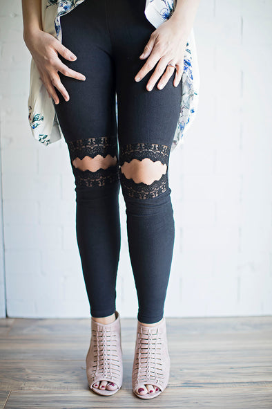 Distress lace black leggings