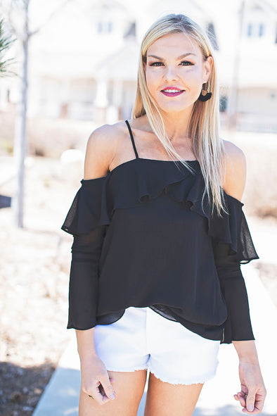 Savannah Black Ruffle Top