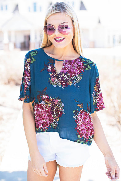 Teal and purple flower top