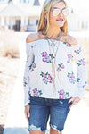 Off shoulder ivory floral top