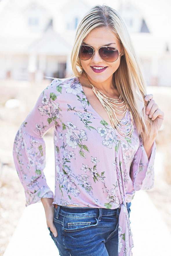 Lilac floral front tie top