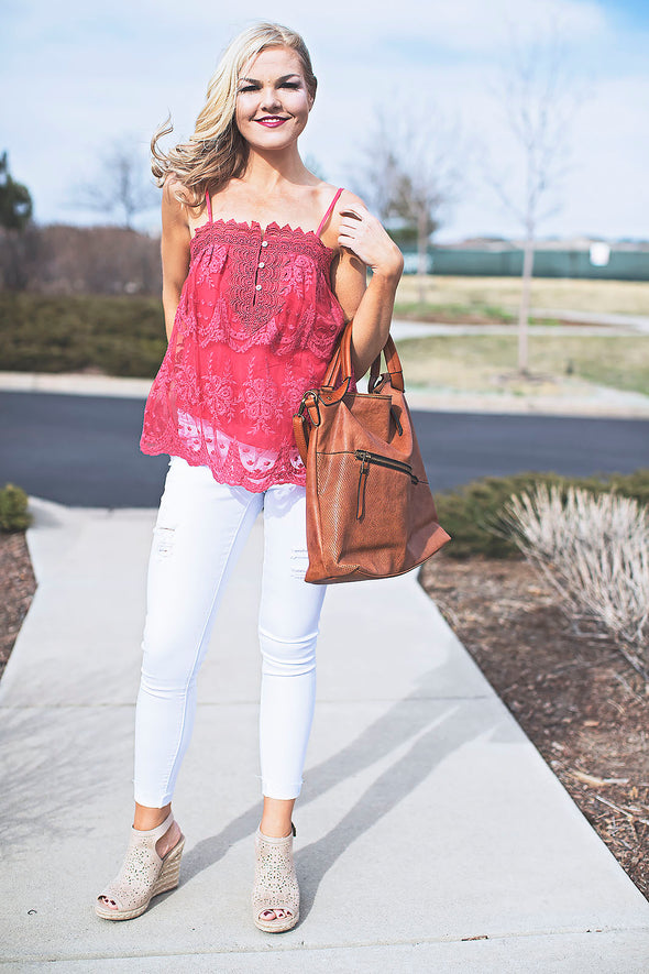 Emma Lace Top Rose