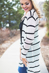 Ivory and Black Stripe Sweater Cardigan