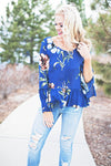 Navy Floral Belle Sleeve Top