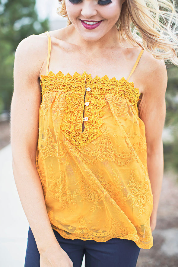 Emma Lace Top Mustard