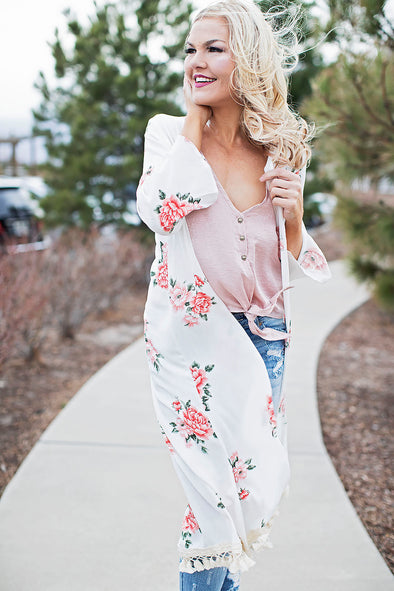Ivory and Pink Floral Kimono