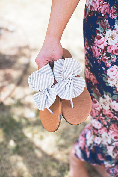 Cream Stripe Bow Sandals