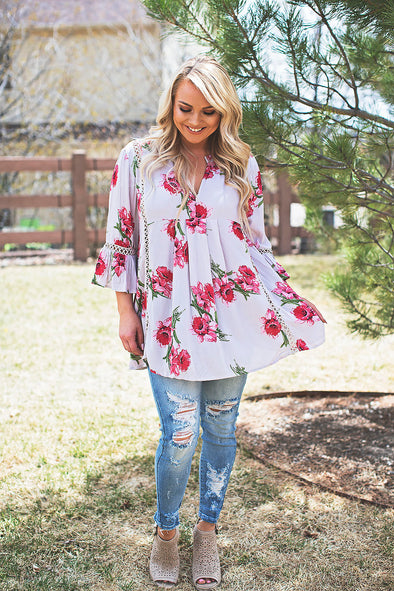 Floral Embroidered Babydoll Tunic
