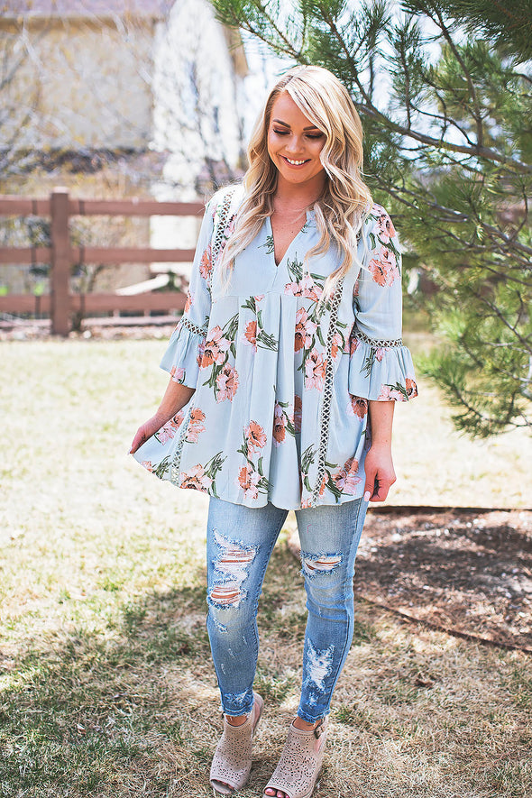 Floral Embroidered Babydoll Tunic (Sage)