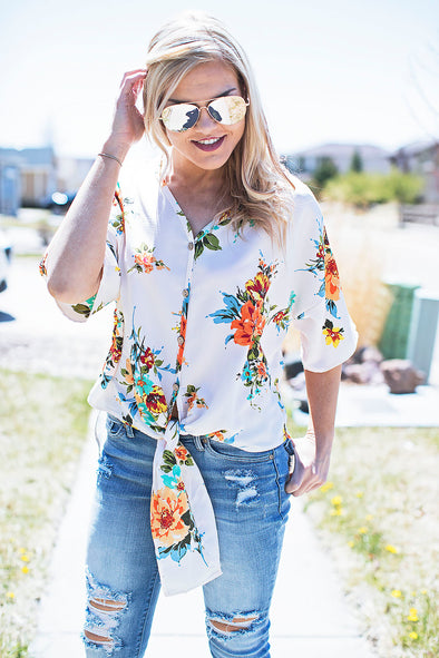 Ivory Floral Front Tie Top