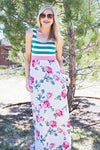 Teal Stripe and Floral Maxi Dress
