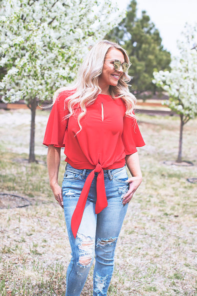 Palm Springs Front Tie Top (Red)