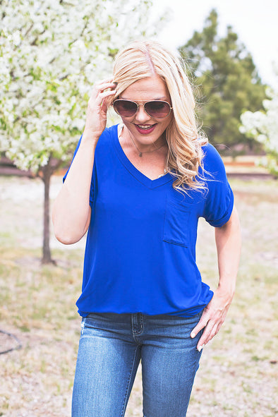 Casual Pocket Tee Royal Blue
