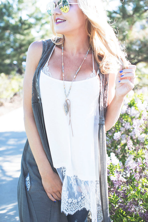 Natural Lace Trim Tank