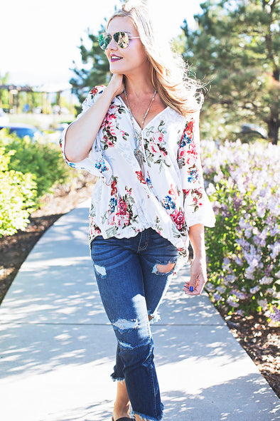 Poppy Floral Top (Ivory) RESTOCK