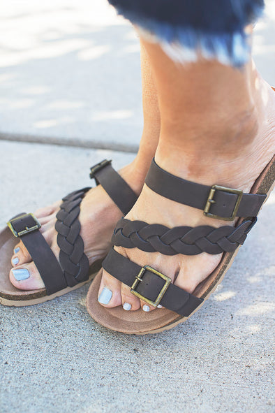 Brown Braided Birk Sandal