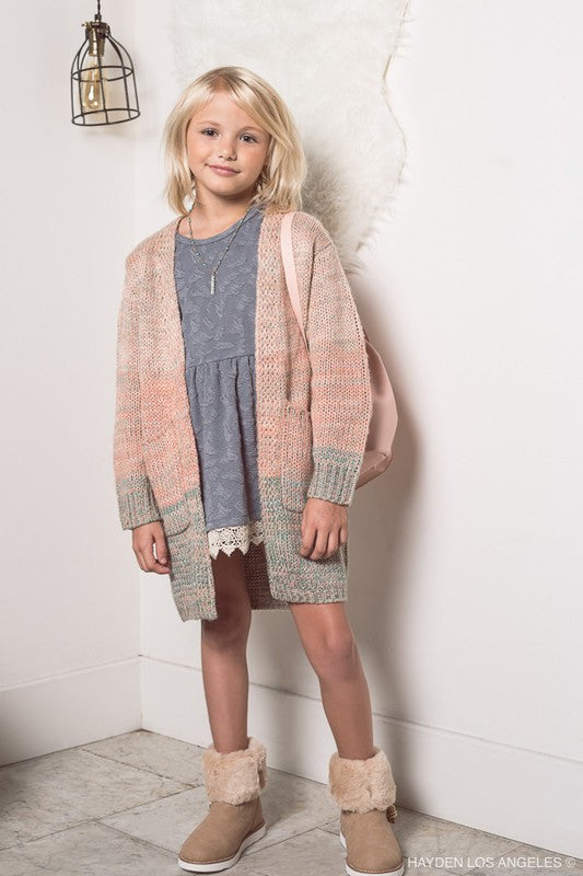 Long sweater cardigan kids blush