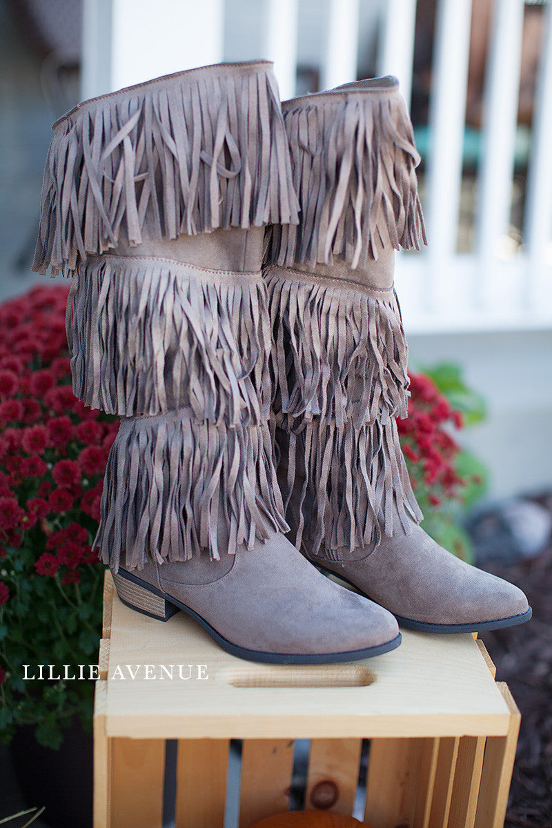 Taupe Fringe Boots