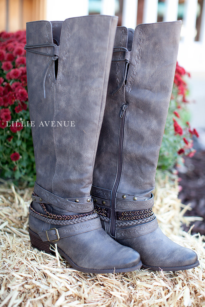 Carrie Buckle Boots in Dark Taupe *RESTOCK*