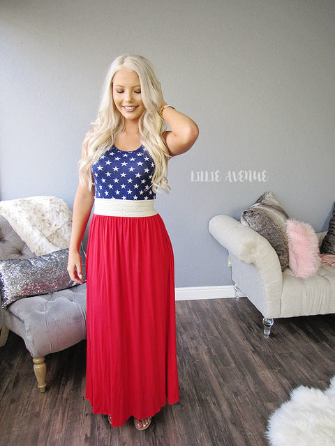 Blue star and red maxi dress