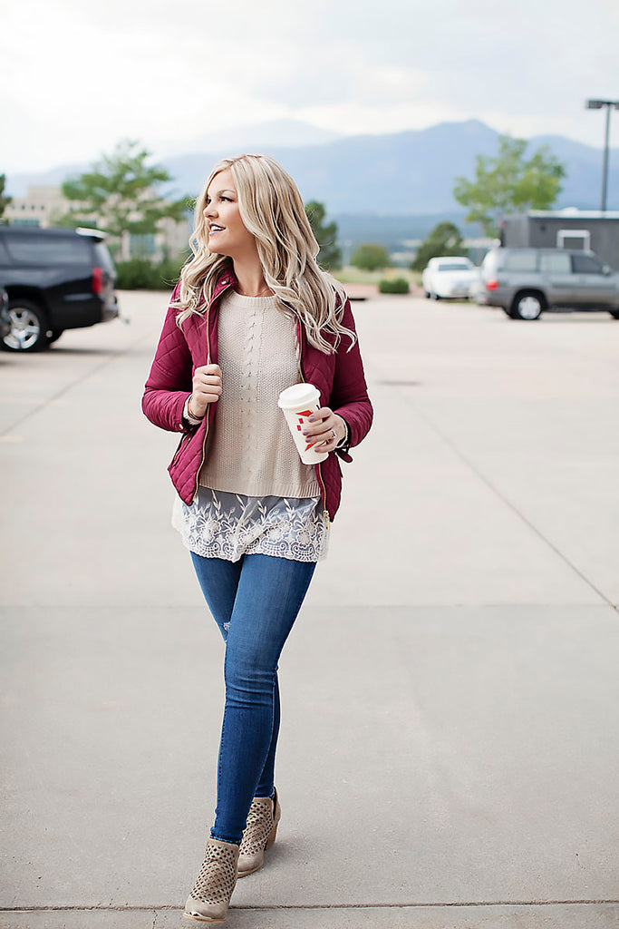 Burgundy quilted jacket