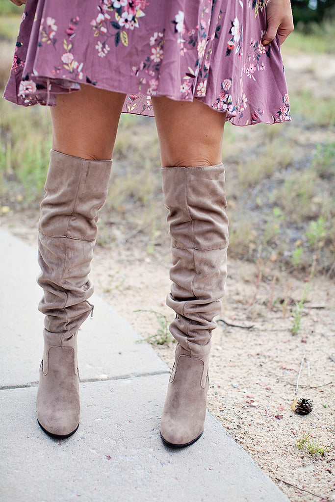 Taupe over the knee lace boot