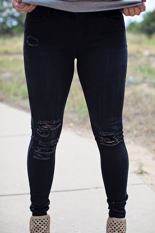 Black distressed mid rise bottoms