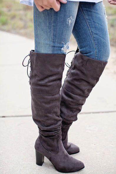 Charcoal over knee lace boot