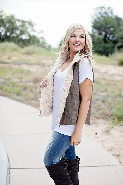 Brown and beige fur vest