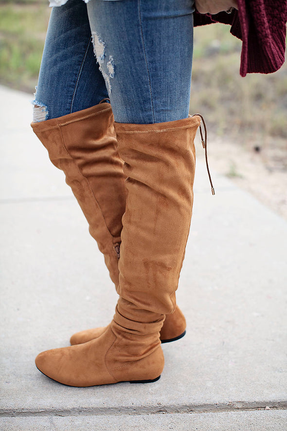 Camel Suede Flat Over Knee Boots