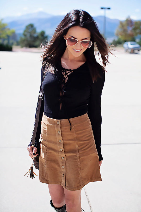 Corduroy button up a line skirt (camel)