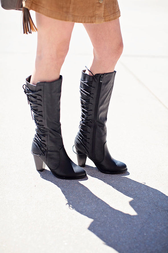Aria Black Lace Up Boots
