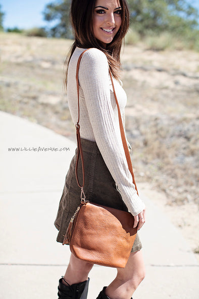Tan cross over bag