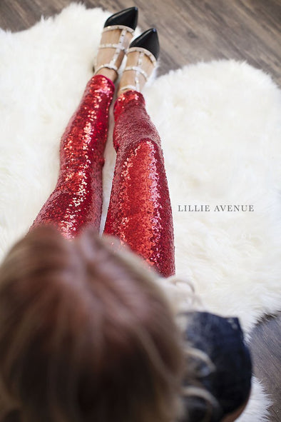 Red Sequin Leggings