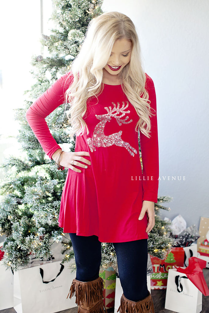 Christmas Sparkle Reindeer Tunic Red