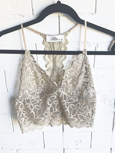 Taupe Long Lace Bralette