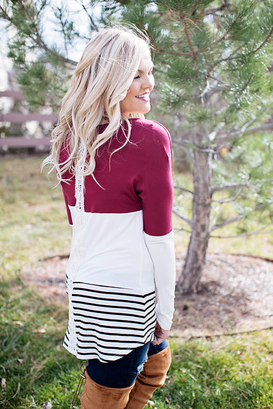 Red color block top with lace back