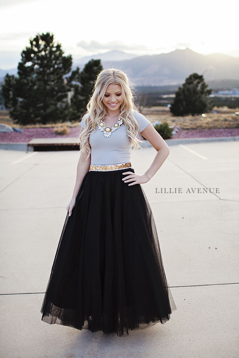 Twas the night long black tulle skirt