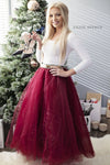 Holiday Burgundy Tulle Skirt Long