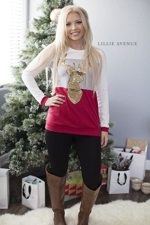 Reindeer red and ivory sequin top