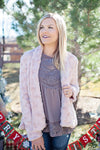 Holiday faux fur jacket (mauve)