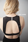 Black sports bra clips back