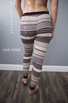 Thermal Pant Bottoms Burgundy Cream Stripes