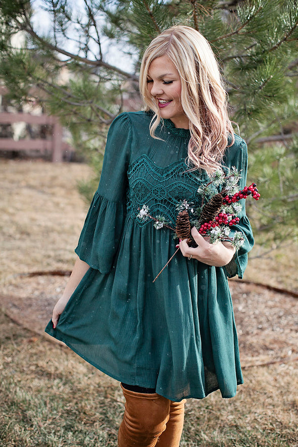 Hunter green lace holiday dress