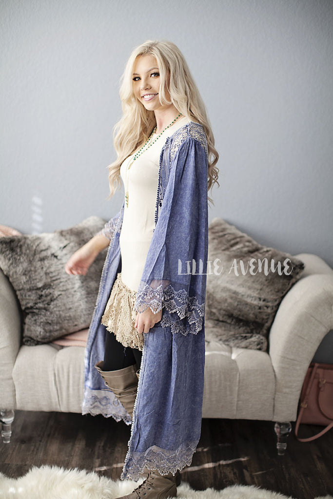 Light Denim Lace Long Cardigan