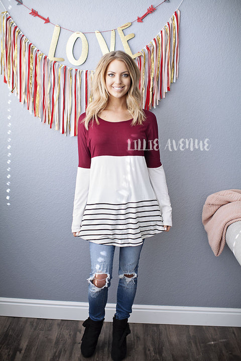 Red White Stripe Lace Back Top